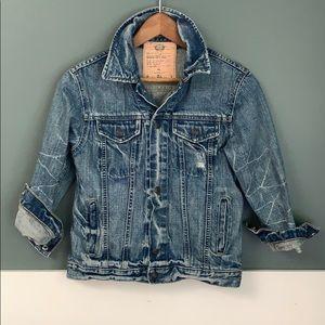 Old Navy Distressed 3/4 Sleeve Jean Jacket